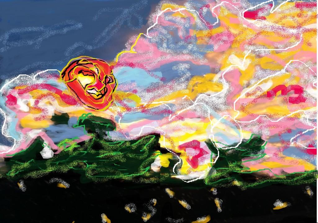 Pleasureville Sunset Bree 1.3.15 Drawn on Paint